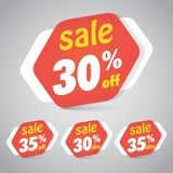 Sale Sticker Tag for Marketing Retail Element Design. With 30% 35% Off. Vector Illustration Royalty Free Stock Images