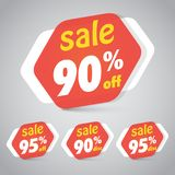 Sale Sticker Tag for Marketing Retail Element Design. With 90% 95% Off. Vector Illustration Royalty Free Stock Photos