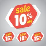 Sale Sticker Tag for Marketing Retail Element Design. With 10% 15% Off. Vector Illustration Stock Photo