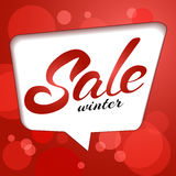 Sale Sticker template. Lettering winter sale in bubble. Blurred lights on red background. Abstract red vector bokeh background. Sale Sticker template stock image