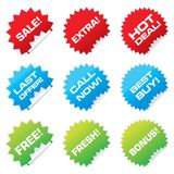 Sale stickers. Set of colorful vector sale stickers and labels Royalty Free Stock Photo