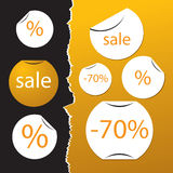 Sale stickers. Vector set of sale stickers on tear paper Royalty Free Stock Photography