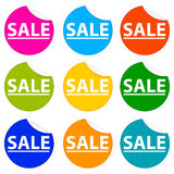 Sale Stickers. A set of nine colorful and stylish sale stickers royalty free illustration