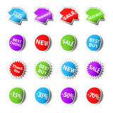 Sale stickers. Set of 16 sales stickers stock illustration