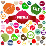 Sale stickers. Set of different colors and shapes of sale stickers Stock Photos