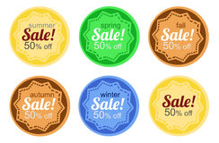 Sale stickers. According to the annual seasons Royalty Free Stock Photos