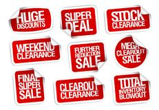 Sale stickers collection - huge discounts, super deal, stock clearance. Sale stickers collection - super deal, stock clearance, huge discounts, weekend clearance Stock Photography