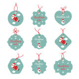 Sale Stickers Graphics. Merry Christmas happy labels. Happy holidays promo tags. Santa Claus, snowflakes, snowman. Stock Photography