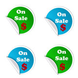 On sale stickers isolated. On sale stickers illustration isolated over a white background stock illustration