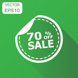 Sale stickers 70% percent off shopping icon. Business concept sa. Le sticker pictogram. Vector illustration on green background with long shadow Royalty Free Stock Photo