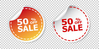 Sale stickers 50% percent off. Vector illustration on isolated b. Ackground Royalty Free Stock Photo