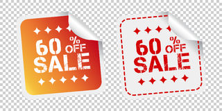 Sale stickers 60% percent off. Vector illustration on isolated b. Ackground Stock Photo