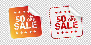 Sale stickers 50% percent off. Vector illustration on isolated b. Ackground Stock Photos
