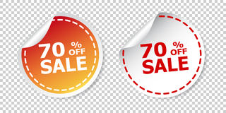 Sale stickers 70% percent off. Vector illustration on isolated b Stock Photo