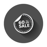 Sale stickers 60% percent off. Vector illustration with long shadow stock illustration