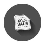 Sale stickers 60% percent off. Vector illustration with long shadow royalty free illustration