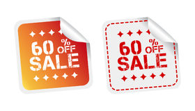 Sale stickers 60% percent off. Vector illustration on white back. Ground stock illustration