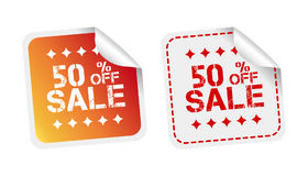 Sale stickers 50% percent off. Vector illustration on white back. Ground Stock Photography
