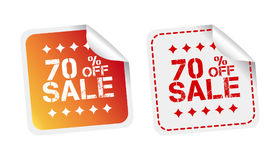 Sale stickers 70% percent off. Vector illustration on white back Stock Images