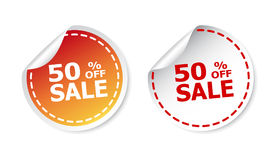 Sale stickers 50% percent off. Vector illustration on white back. Ground Stock Photos