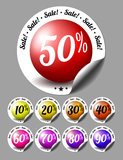 Sale stickers with percents Royalty Free Stock Images
