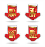 Sale Stickers. Red Arrow Sale Stickers Royalty Free Stock Photography