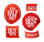 Sale stickers set collection - half price, exclusive best offer Royalty Free Stock Photos