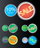 Sale Stickers. A set of sale stickers. Different styles and colors Royalty Free Stock Photo