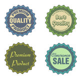 Sale stickers. Set of four sale stickers isolated on a white background Stock Photos