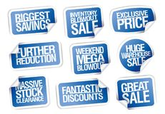 Sale stickers set - great sale, biggest savings, exclusive price. Fantastic discounts, weekend blowout Stock Photography