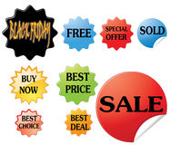 Sale stickers. A set of sale stickers isolated on white background Royalty Free Stock Photography