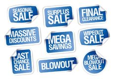 Sale stickers set - massive discounts, mega savings. Seasonal sale, final clearance, last chance, etc Stock Photos