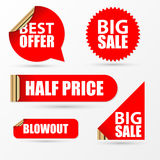 Sale stickers set. Modern red style. Vector Stock Photography