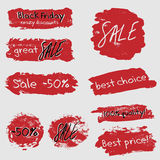 Sale stickers set with red brushstrokes Royalty Free Stock Image