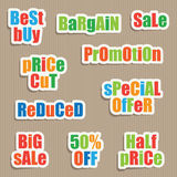 Sale stickers. Set of shopping sale text stickers with shadows Stock Image