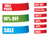 Sale stickers with shadows Royalty Free Stock Photography