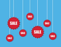 Sale Stickers On Strings Royalty Free Stock Images