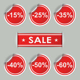 Sale stickers and tags with discounts Stock Photo