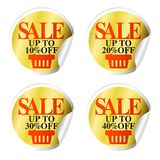 Sale Stickers With Shopping Basket Up To 10,20,30,40 Percent Off Royalty Free Stock Images