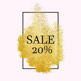 Sale stipple twenty. Gold sales stipple frame. Vector shining background. Glitter dotted template Stock Photography
