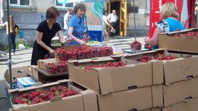 The sale of strawberries. Kiev 2014 Royalty Free Stock Images