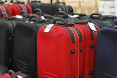 Sale of suitcases. In a supermarket Royalty Free Stock Photos