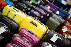 Sale of suitcases of different sizes and colors.  Stock Photo
