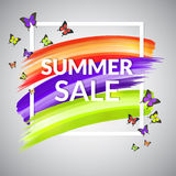Sale Summer Banner design  with frame and butterflies Stock Image