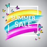 Sale Summer Banner design  with frame and butterflies Stock Photo