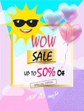 Sale Summer. Summer Sale Discount banner. Abstract dynamic vector template. 3D heart, Sun with sunglasses, sky, clouds, lettering, abstract dynamic exotic Stock Photography