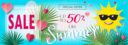 Sale Summer. Summer Sale Discount banner. Abstract tropical vector template. 3D heart, Sun with sunglasses, tropical palm tree leaves frame, sky, lettering Royalty Free Stock Photography