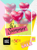 Sale Summer. Summer Sale Discount banner. Abstract tropical vector template. 3D heart, tropical frame, Sun with sunglasses, lettering, abstract dynamic exotic Stock Images
