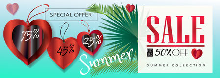 Sale Summer. Summer Sale Discount banner. Abstract tropical vector template. 3D heart, tropical palm tree leaves frame,  sky, lettering, abstract dynamic exotic Royalty Free Stock Images