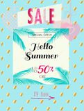 Sale Summer. Summer Sale Discount banner. Abstract tropical vector template. 3D heart, tropical palm tree leaves frame,  sky, lettering, abstract dynamic exotic Stock Photos